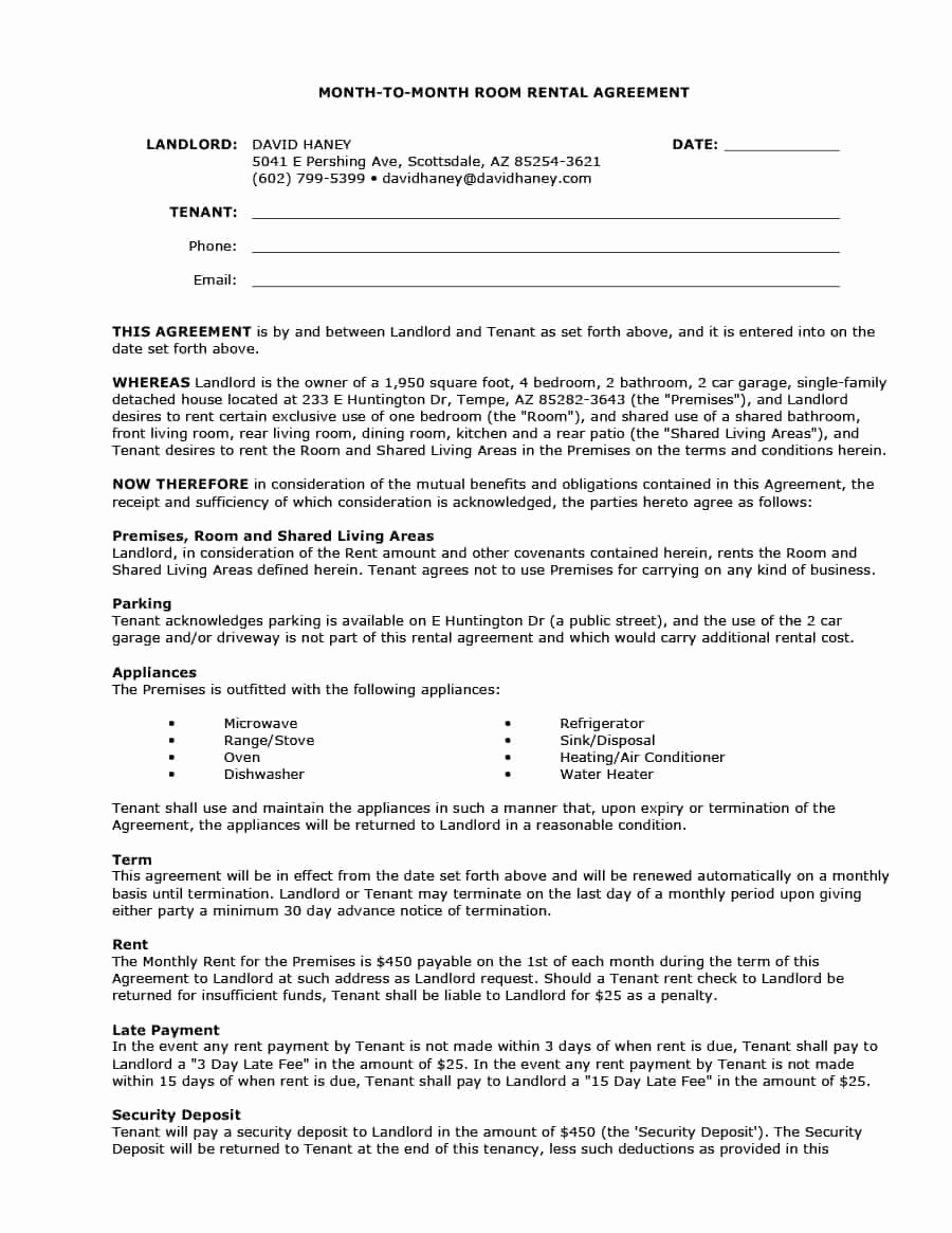 Alarm Monitoring Contract Template Unique 39 Simple Room Rental Agreement Templates Template Archive