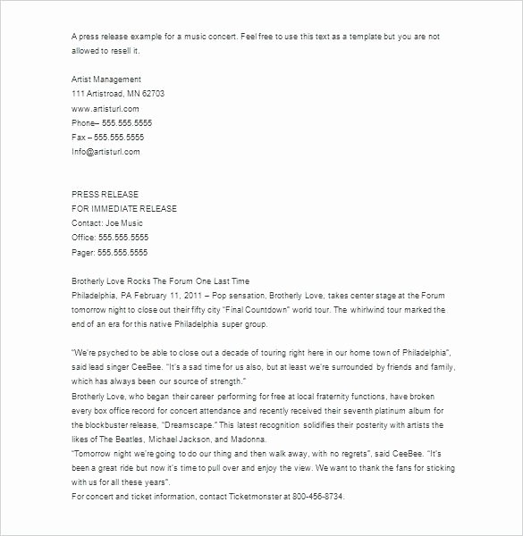 Album Press Release Template Awesome Band Press Release Template Media Release format Press