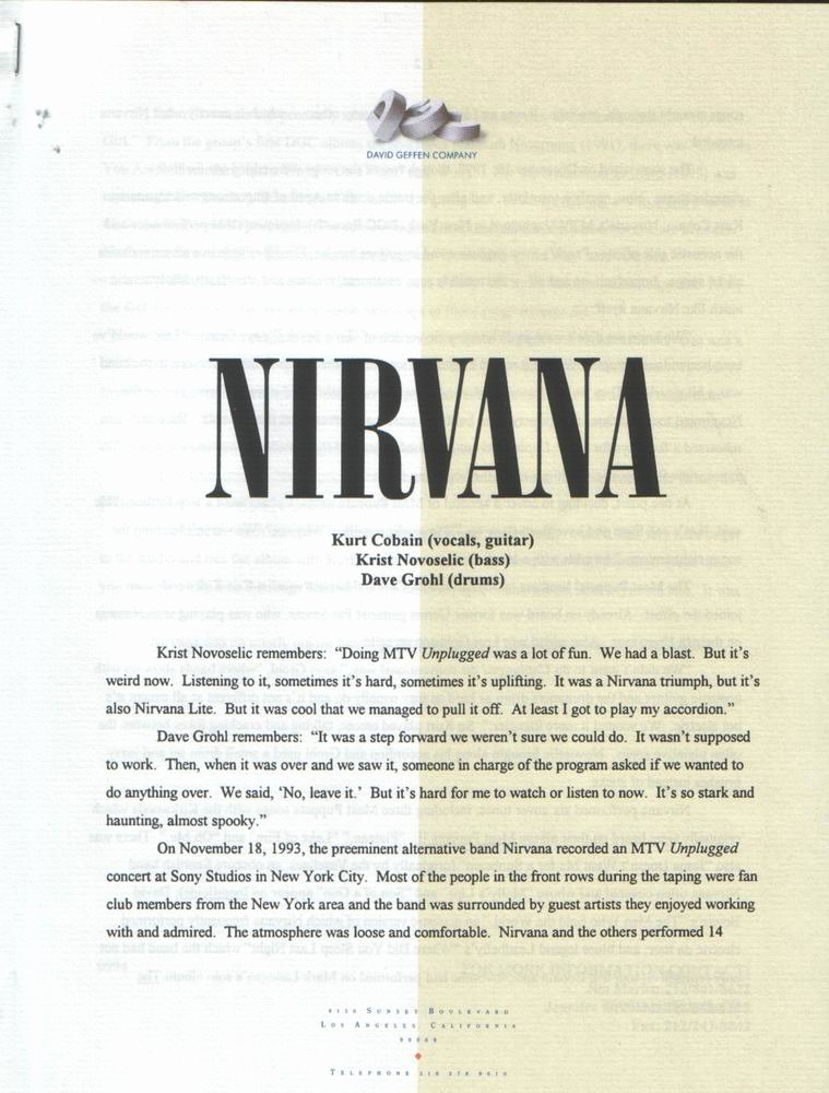 Album Press Release Template Best Of Live Nirvana Important Documents