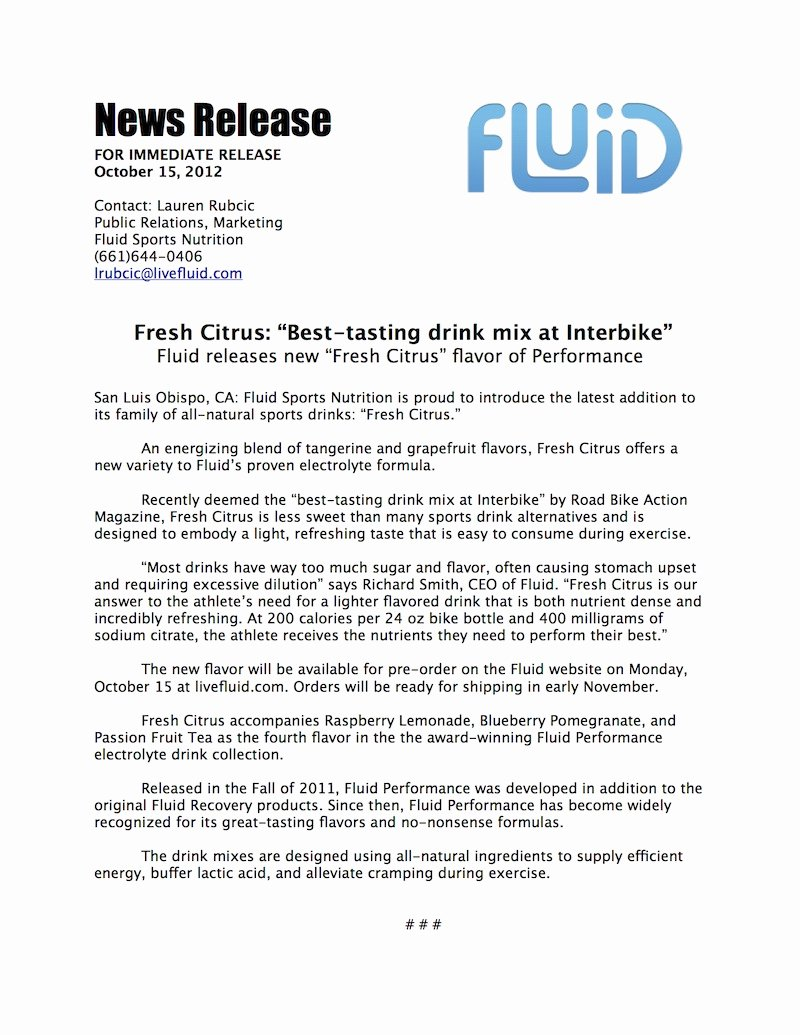 Album Press Release Template Fresh Fluid Sports Nutrition Adds New Flavor