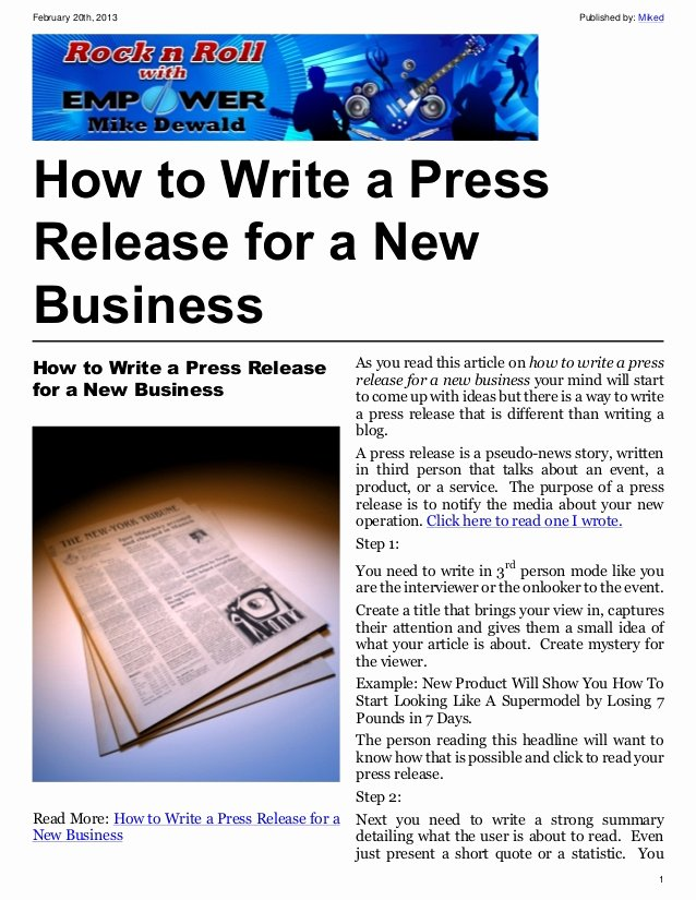 Album Press Release Template New How to Write A Press Release for A New Business
