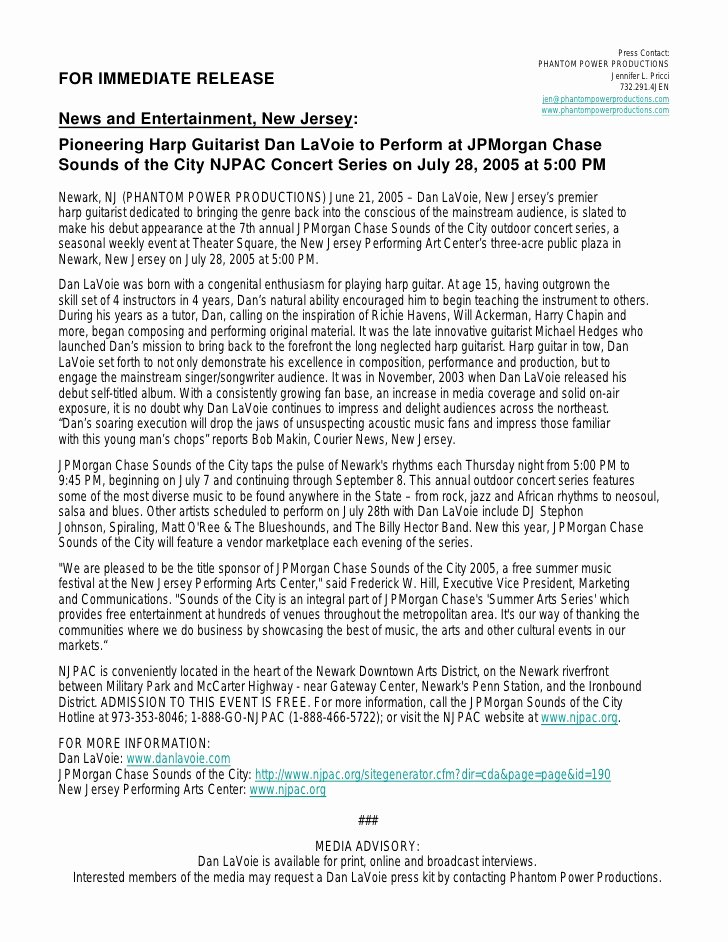 Album Press Release Template Unique Press Release Dan Lavoie to Play Jpmorgan Chase Njpac