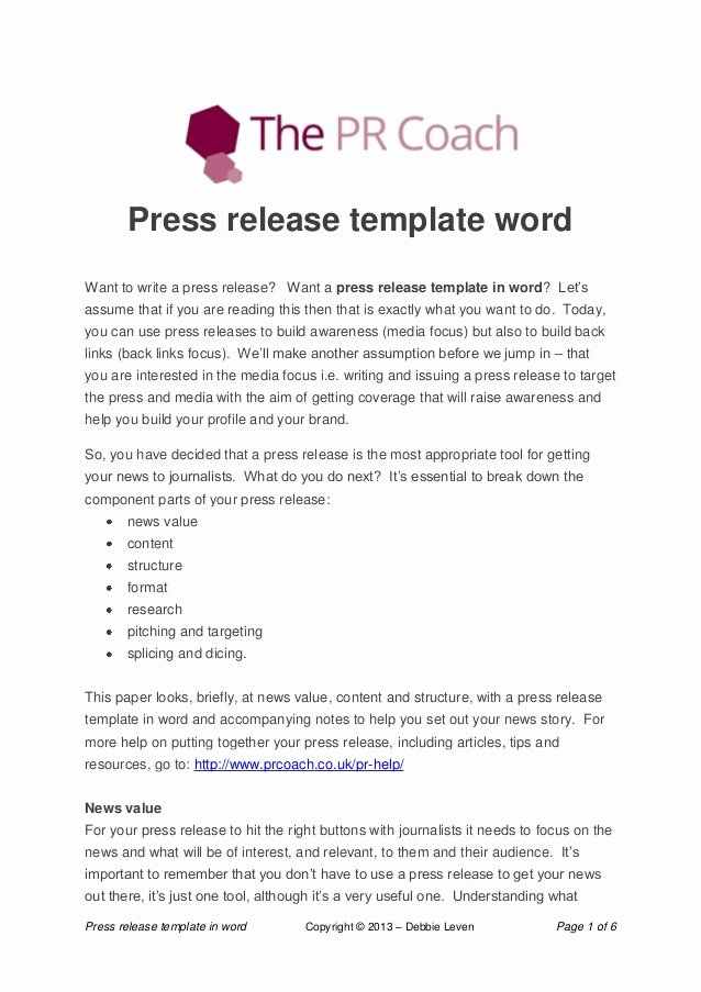 Album Press Release Template Unique Press Release Template Word