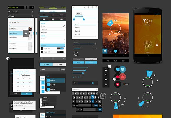 Android App Design Template Awesome android 4 Ui Design Kit Psd Freebiesbug