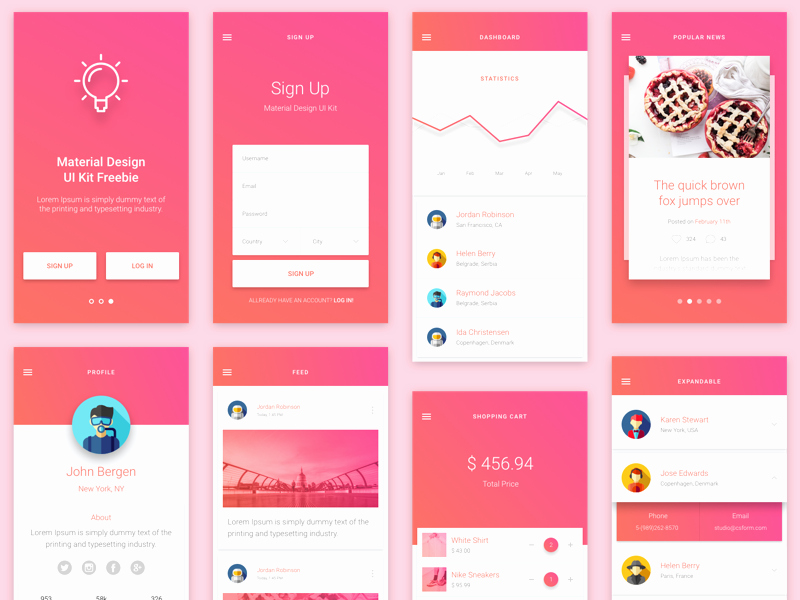 Android App Design Template New Material Design Gui and App Templates for android Free