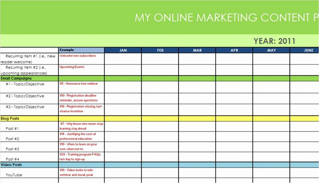 Annual Marketing Calendar Template Best Of New Example Marketing Plan