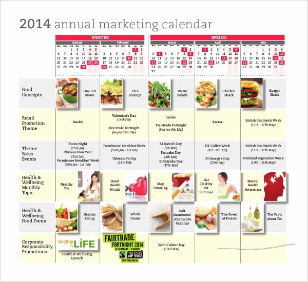 Annual Marketing Plan Template Unique Marketing Calendar Template 3 Free Excel Documents