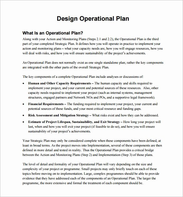 Annual Operating Plan Template Fresh 20 Operational Plan Templates Doc Pdf