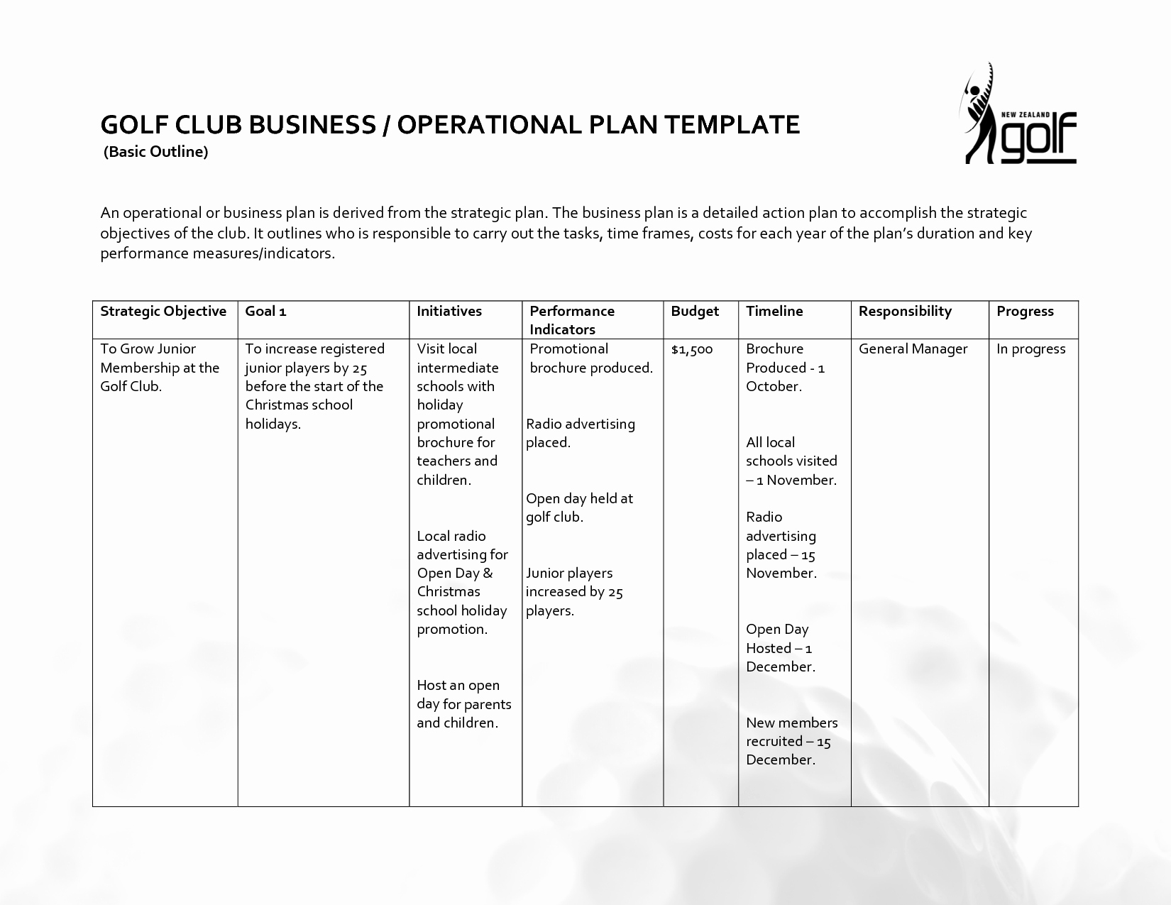 Annual Operating Plan Template Luxury Operational Plan Template