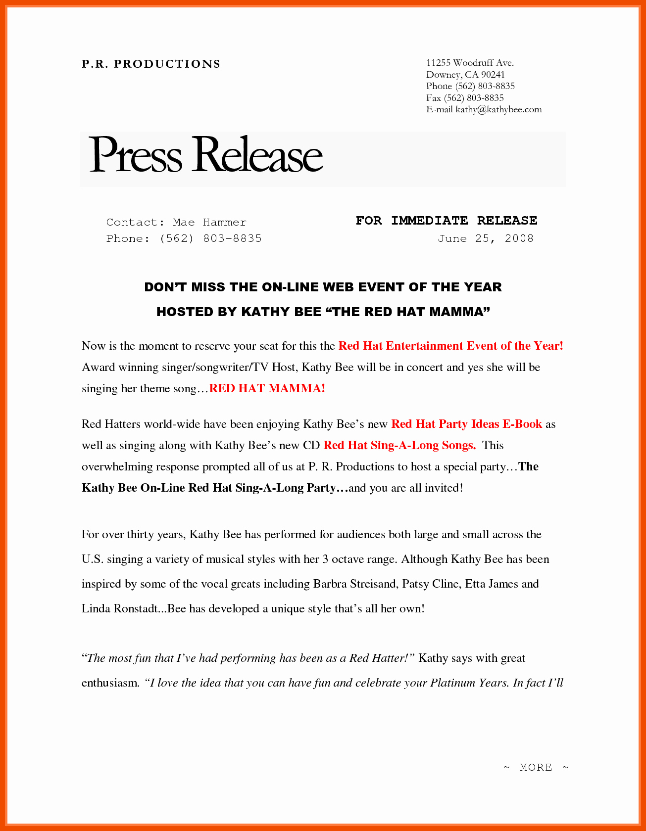 Ap Style Press Release Template Best Of 6 7 Press Release format