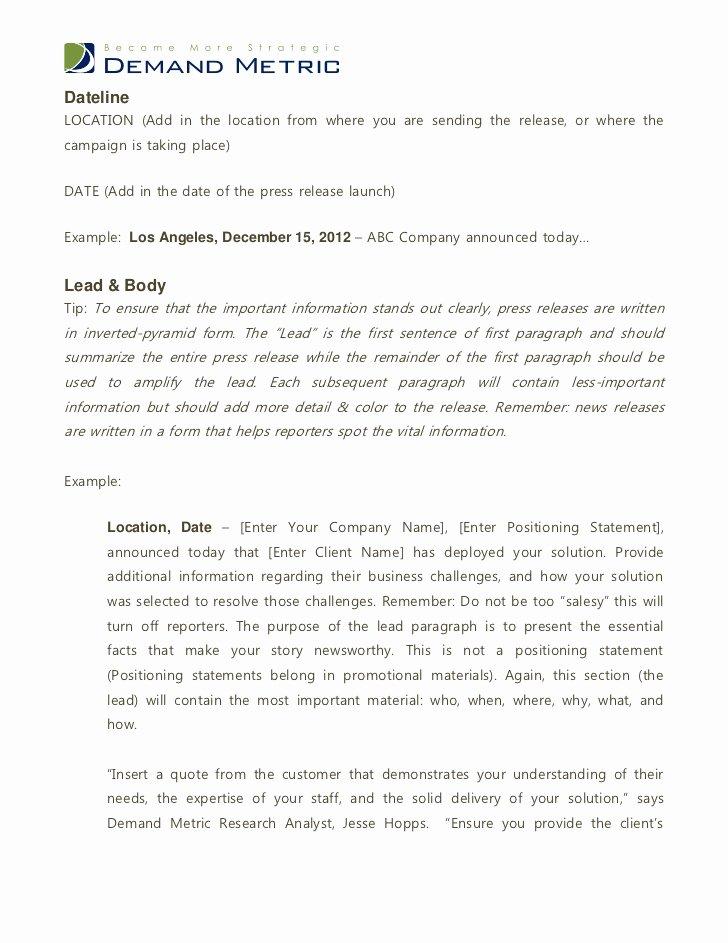 Ap Style Press Release Template Unique Press Release Template