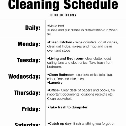 Apartment Cleaning Schedule Template Awesome Apartment Cleaning List Latest Bestapartment 2018