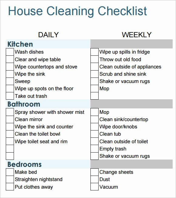 Apartment Cleaning Schedule Template Fresh 10 House Cleaning Checklist Samples