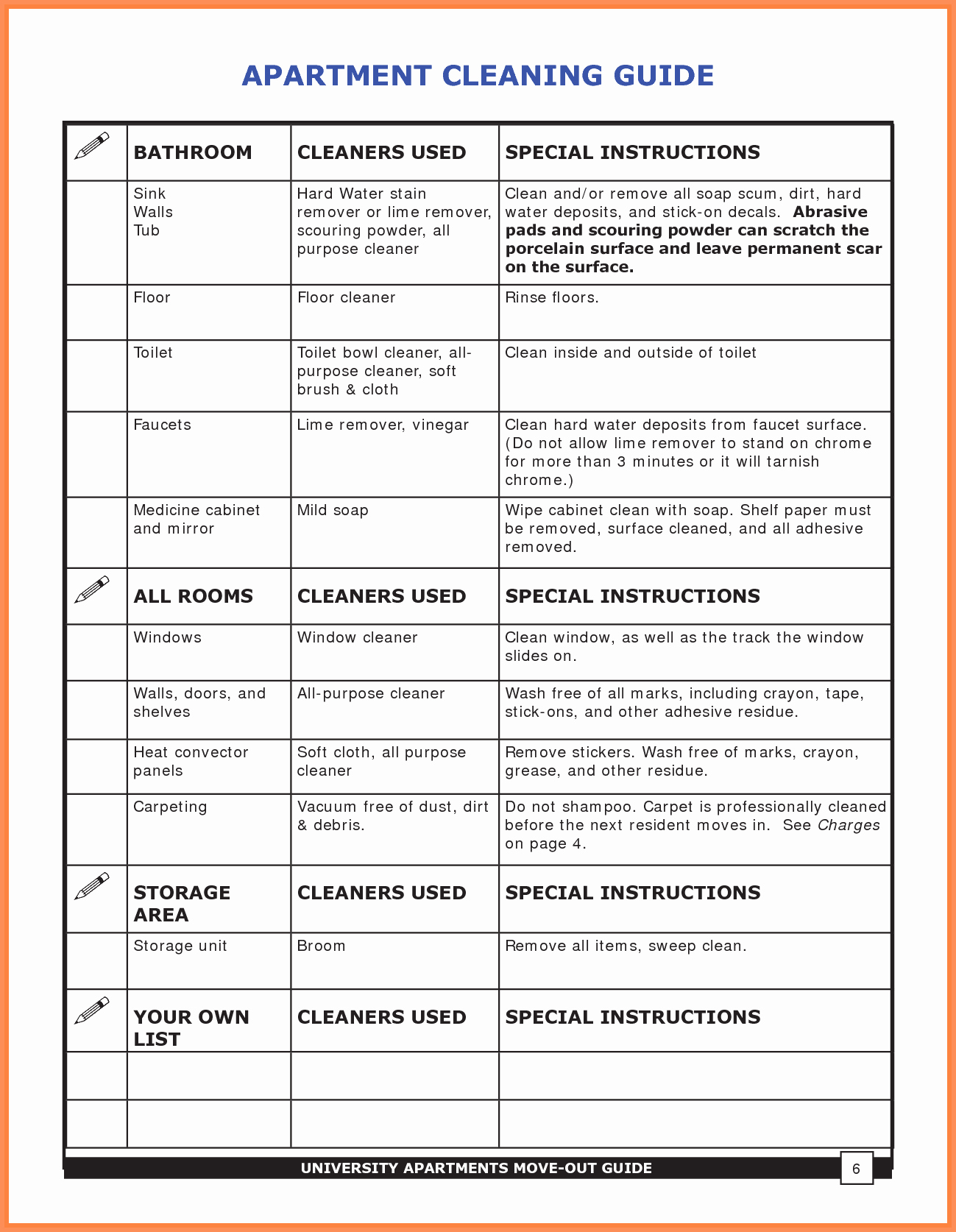 Apartment Cleaning Schedule Template Fresh Apartment Cleaning Checklist