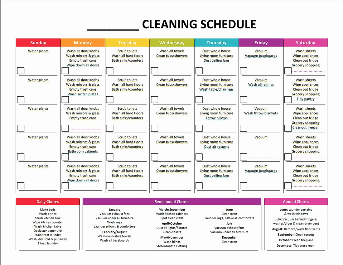 Apartment Cleaning Schedule Template Fresh Plete Housekeeping Printable Set