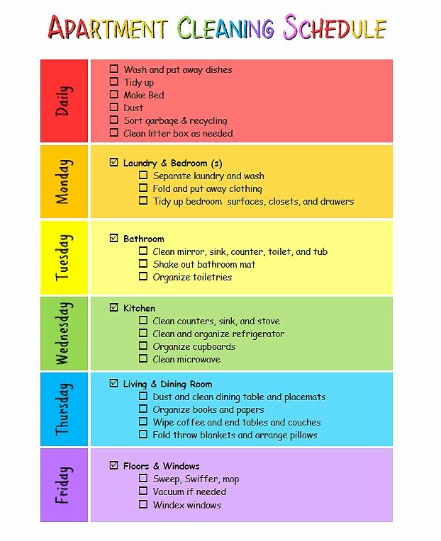 Apartment Cleaning Schedule Template Lovely My Apartment Cleaning Schedule