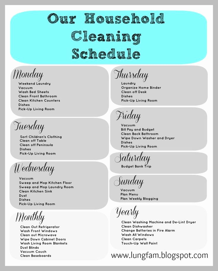 Apartment Cleaning Schedule Template Luxury Cleaning Schedule for Large Home