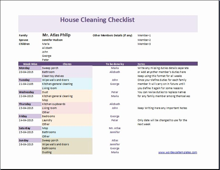 Apartment Cleaning Schedule Template Luxury My House Cleaning Checklist Template