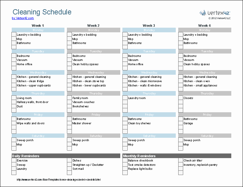 Apartment Cleaning Schedule Template New Cleaning Schedule Template Printable House Cleaning