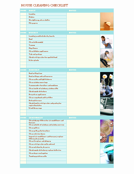 Apartment Cleaning Schedule Template New House Cleaning Checklist