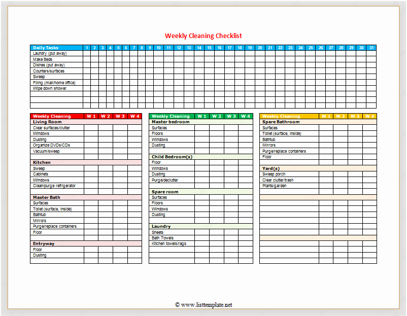 Apartment Cleaning Schedule Template New Weekly Cleaning Checklist for Word List Templates