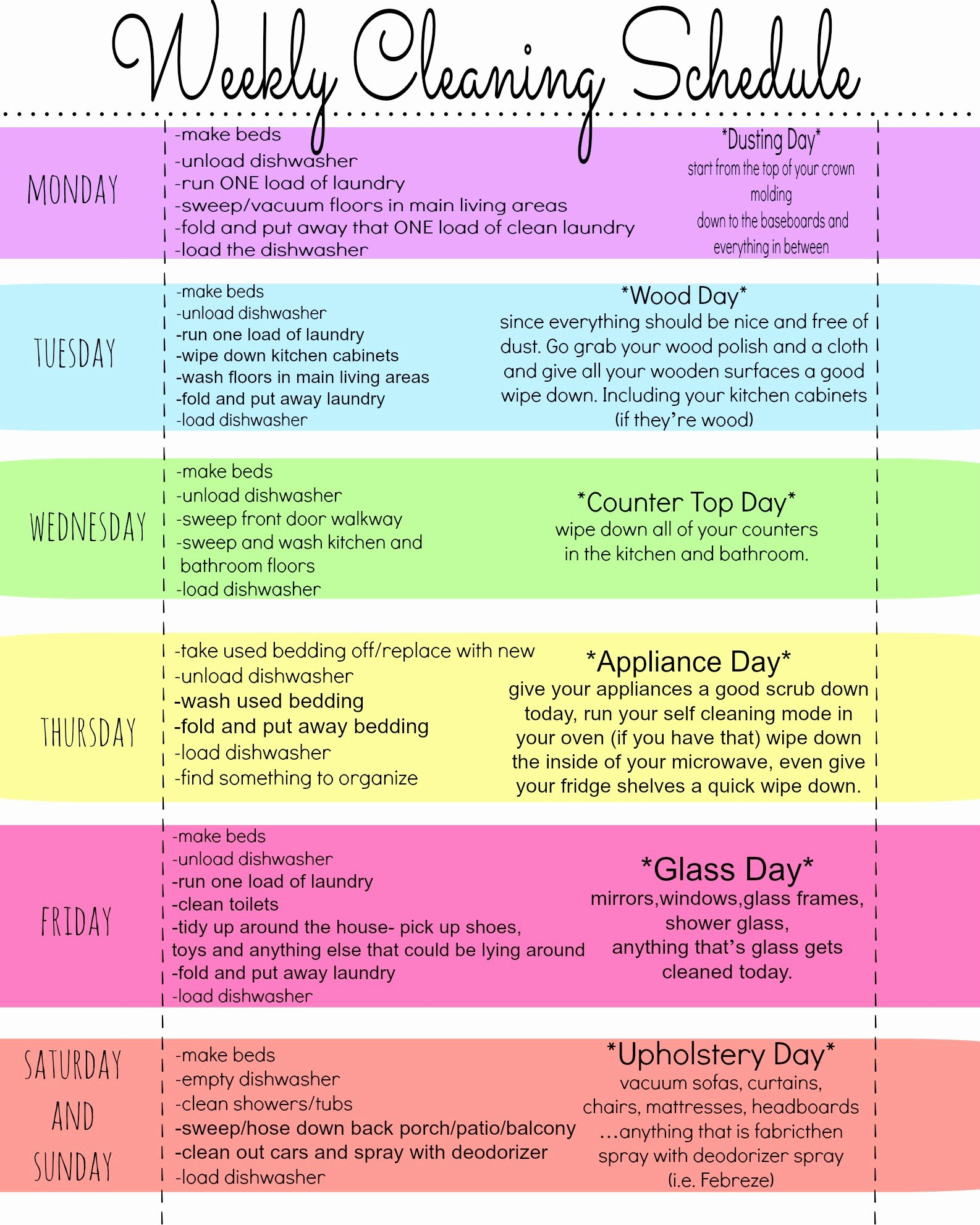 Apartment Cleaning Schedule Template Unique My Quirky Weekly Cleaning Chart Free Printable First