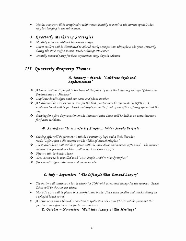 Apartment Marketing Plan Template Elegant Sample Start Up Marketing Plan for A New Munity or and