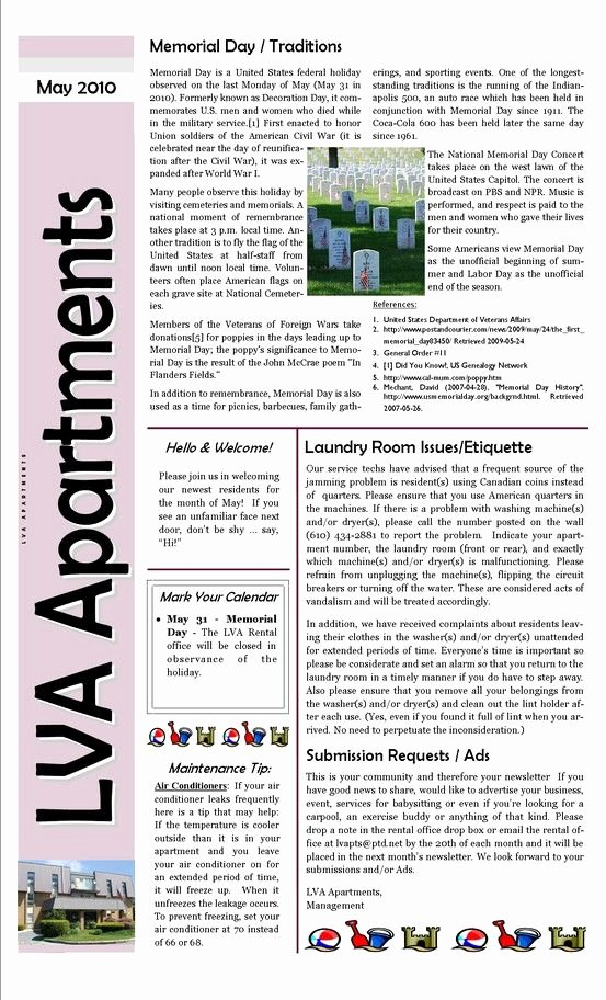 Apartment Marketing Plan Template Lovely Apartment Plex Sample Newsletter