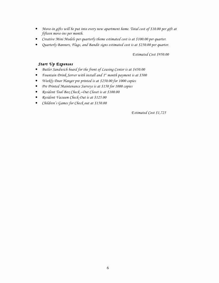Apartment Marketing Plan Template Unique Sample Start Up Marketing Plan for A New Munity or and