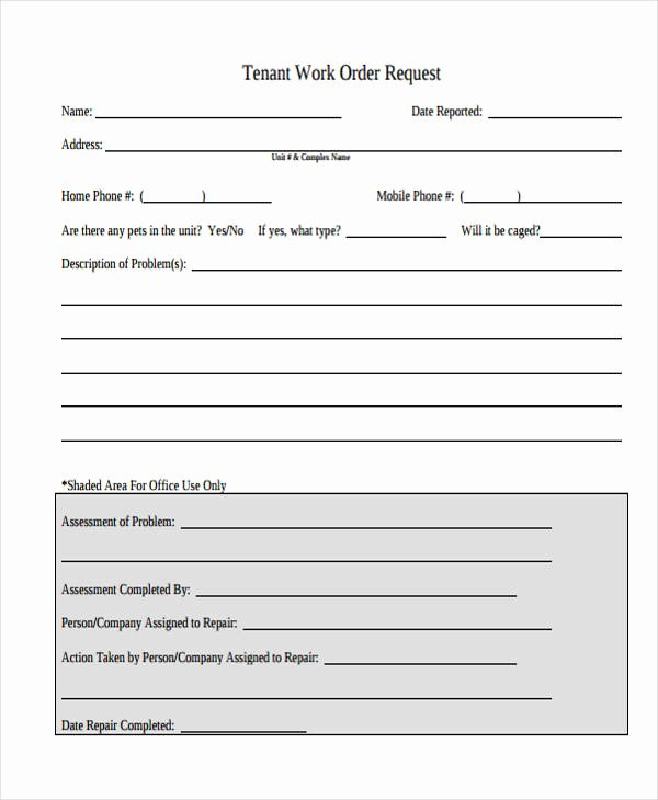 Apartment Work order Template Awesome 22 Work order form Template