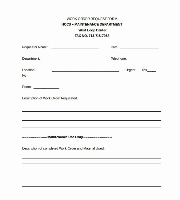 Apartment Work order Template Awesome Apartment Maintenance Request form Template Latest