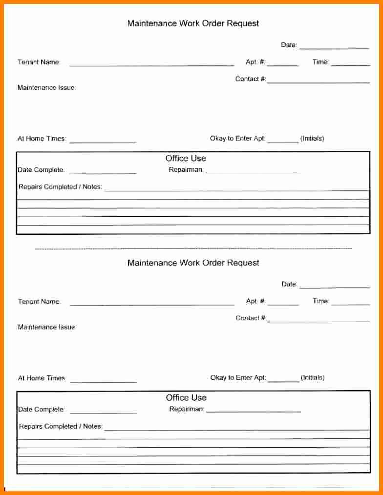 Apartment Work order Template Fresh Apartment Maintenance Work order forms Latest
