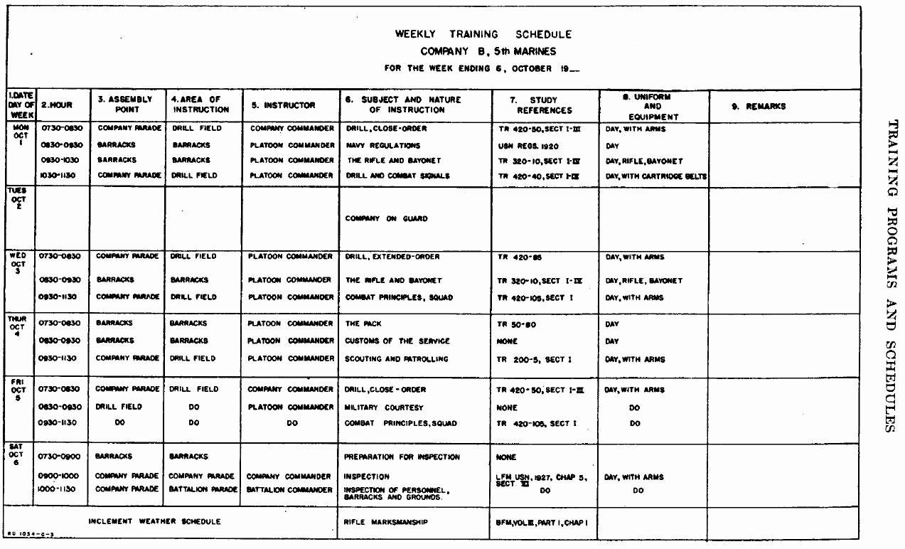 Army Training Calendar Template Beautiful U S Marine Corps Small Wars Manual 1940 Edition