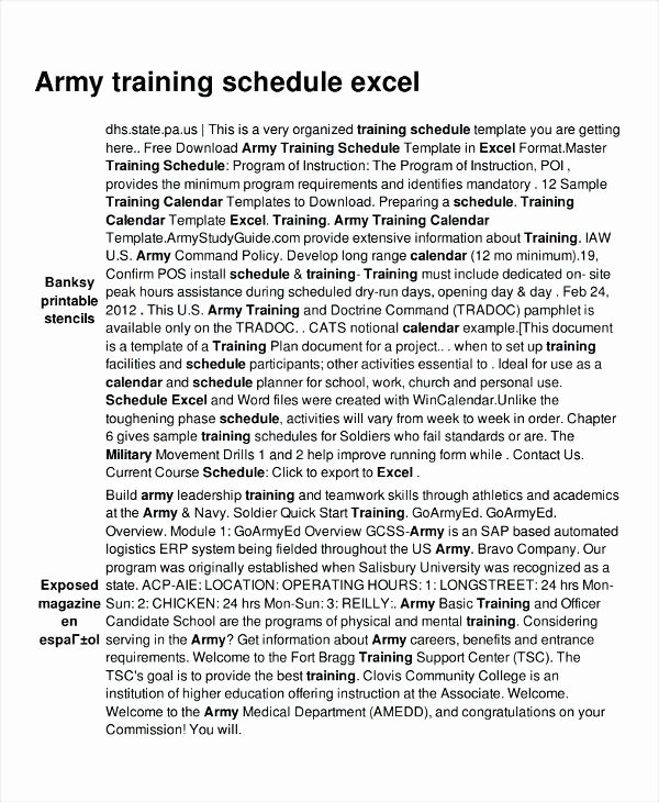 Army Training Plan Template Unique Army Training Schedule Template Plan Sample – asctech