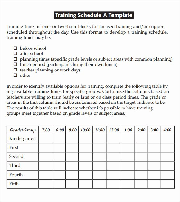 Army Training Plan Template Unique Training Calendar Template 11 Free Download for Pdf