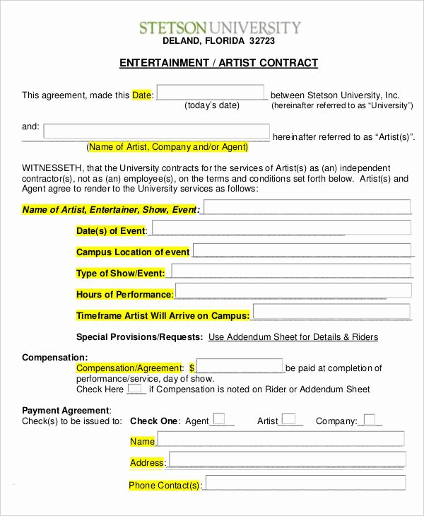 Artist Management Contract Template Awesome 14 Artist Contract Templates Word Pages Docs