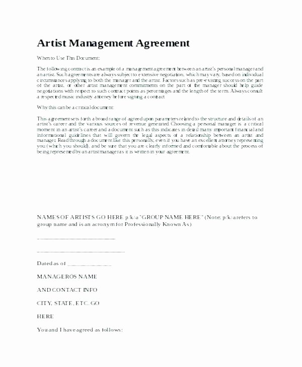 Artist Management Contract Template Awesome Management Agreement Contract Template Property Free Post