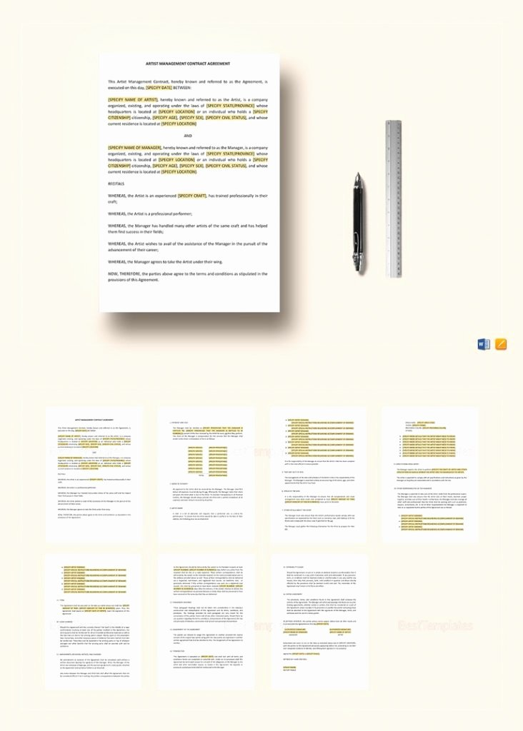 Artist Management Contract Template Awesome the Management Contract that Every Artist songwriter and