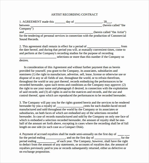 Artist Management Contract Template Beautiful 12 Sample Artist Contract Templates to Download for Free