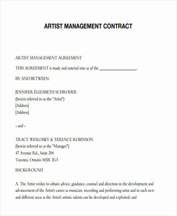 Artist Management Contract Template Beautiful 37 Contract Templates In Pdf