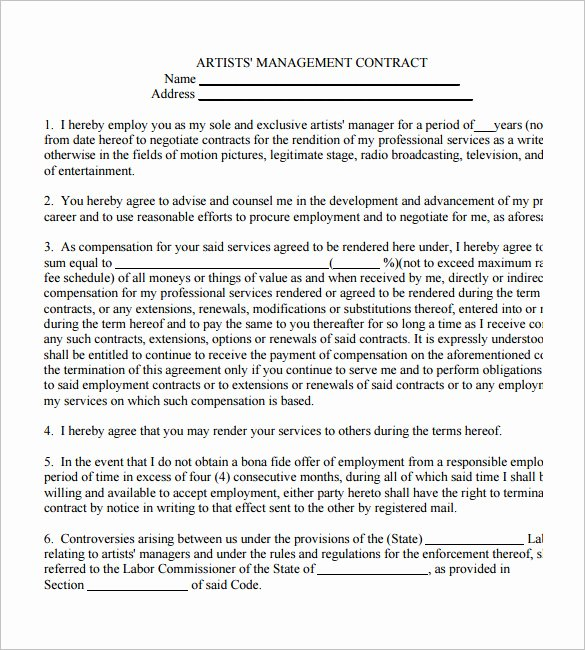 Artist Management Contract Template Beautiful 5 Artist Management Contract Templates – Free Pdf Word
