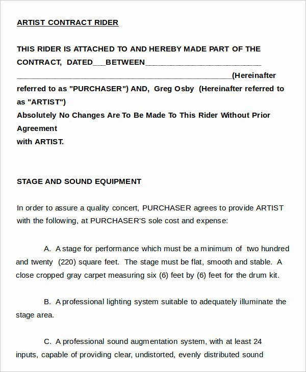 Artist Management Contract Template Best Of 12 Artist Contract Templates Free Sample Example