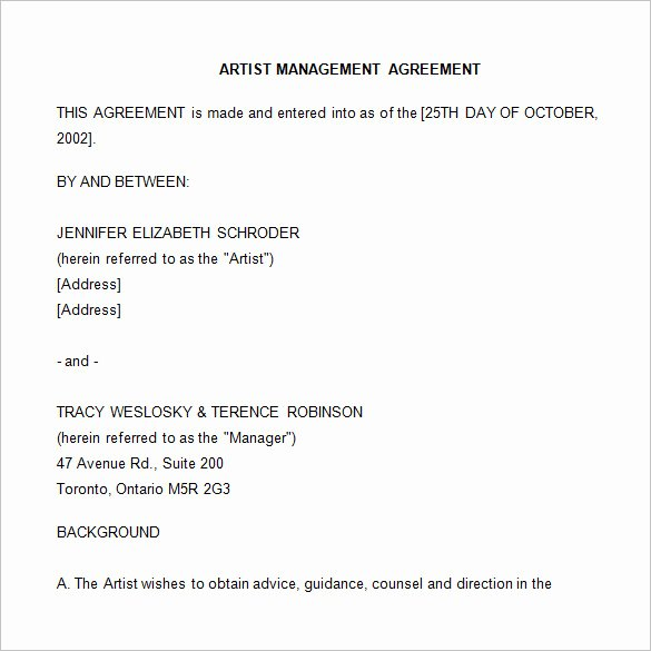 Artist Management Contract Template Best Of 5 Artist Management Contract Templates Word Docs Pdf