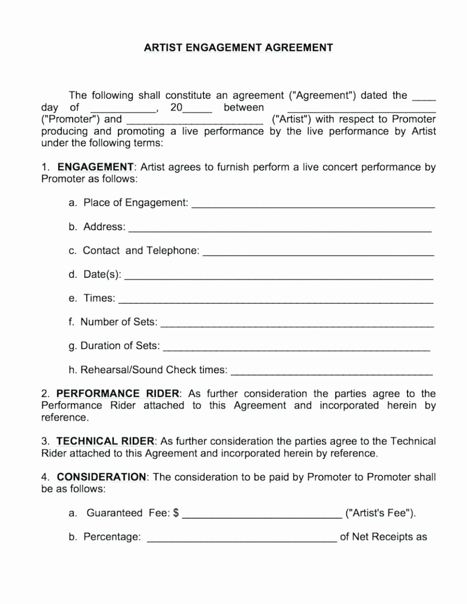 Artist Management Contract Template Best Of Artist Management Contract Template Staruptalent