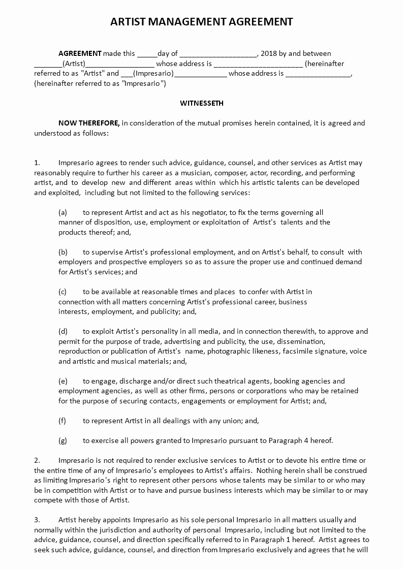 Artist Management Contract Template Elegant Free Artist Management Agreement