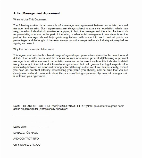 Artist Management Contract Template Fresh 10 Artist Management Contract Templates to Download for