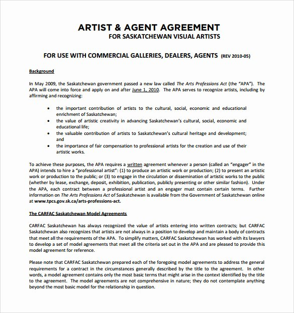 Artist Management Contract Template Inspirational 12 Sample Artist Contract Templates to Download for Free