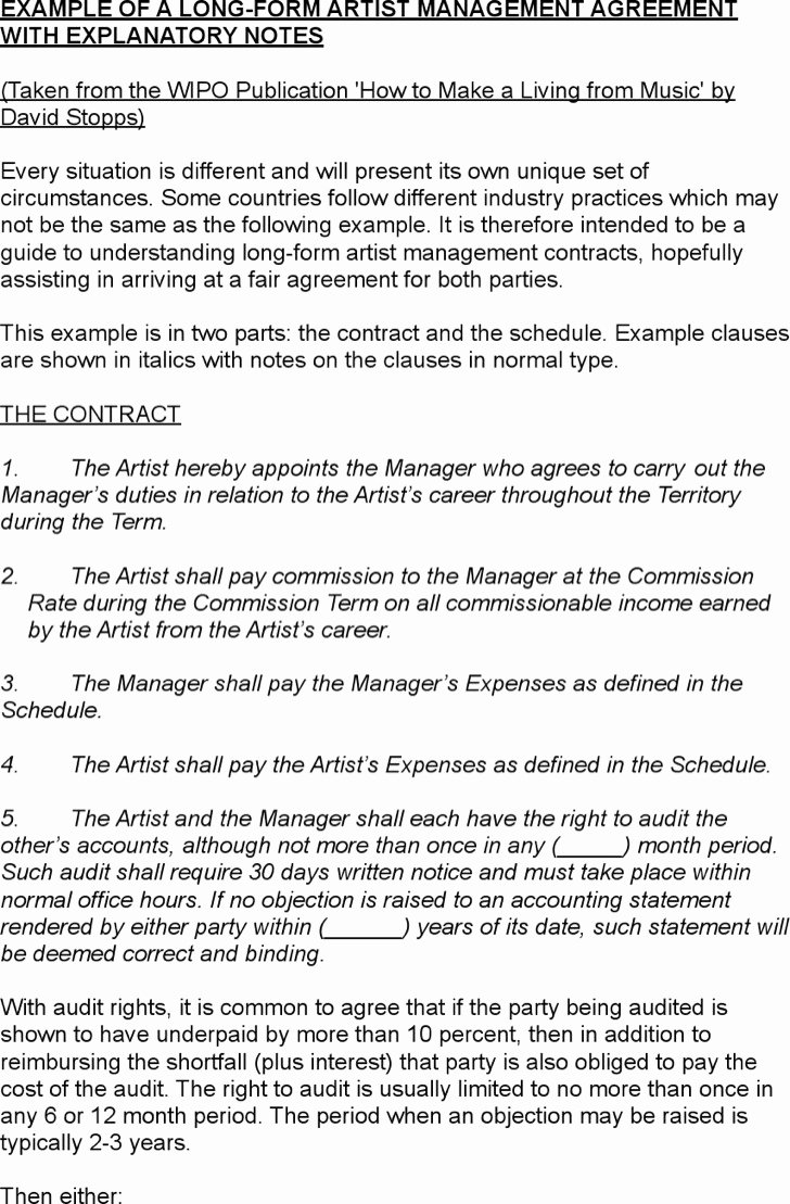 Artist Management Contract Template Inspirational 5 Artist Management Contract Templates Free Download