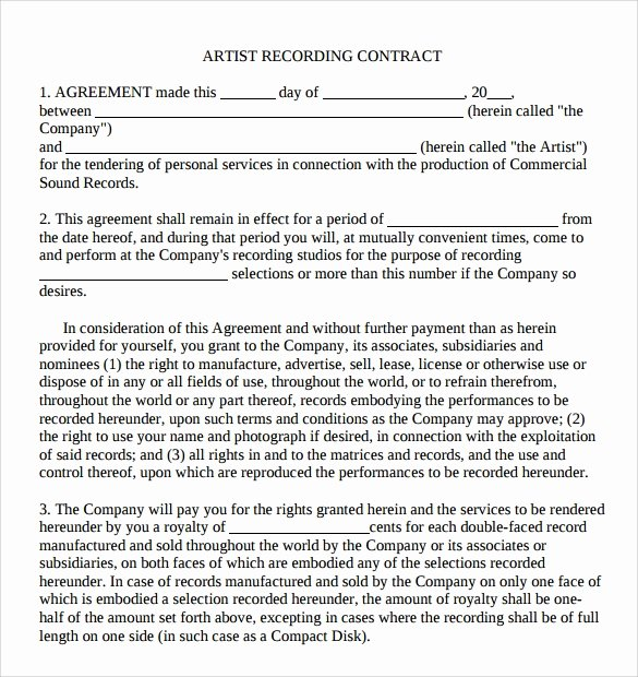 Artist Management Contract Template Inspirational 9 Artist Contract Templates Download for Free