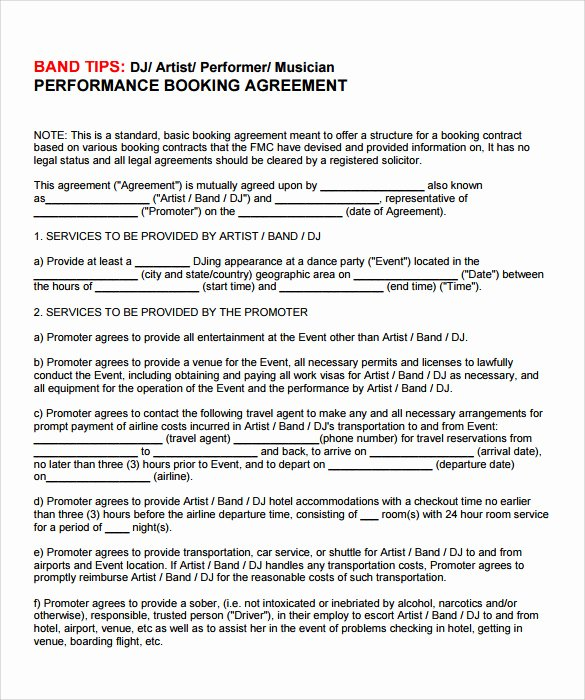 Artist Management Contract Template Lovely 12 Sample Artist Contract Templates to Download for Free